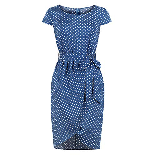 Dresses for Women Work Casual Short Sleeve Dot Print Casual Pencil Dress Evening Party Dress(Blue,M) ()