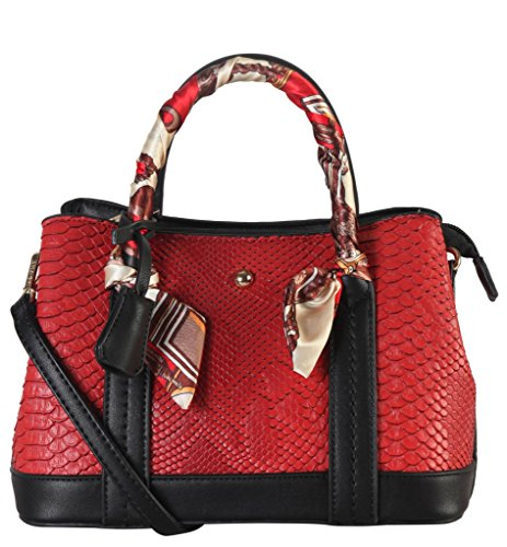 diophy-pu-leather-snake-skin-pattern-scarves-decor-top-handle-handbag-womens-purse-accented-with-rem