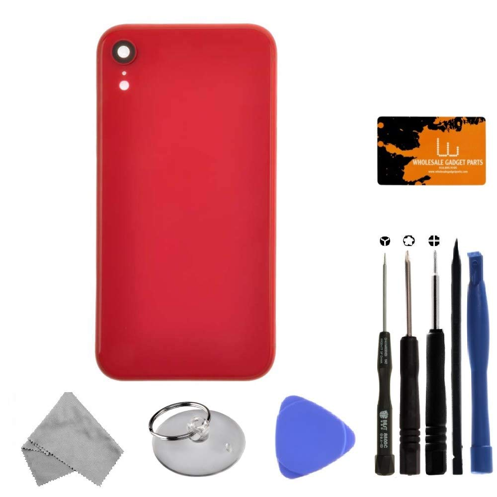 Housing (Rear Glass, Frame, Small Components) for Apple iPhone XR (Red) with Tool Kit