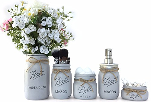 Farmhouse Bathroom Decor Rustic Mason Jar Bathroom Set Country Bathroom Decor (Cottage Grey) - Country Cottage Decor