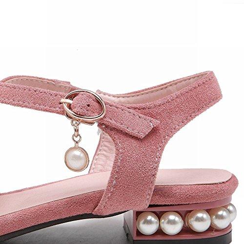 YE Damen Flache Slingback Geschlossen Sandalen mit Perlen Ballerinas Riemchenpumps Bequem Sommer Schuhe Pink