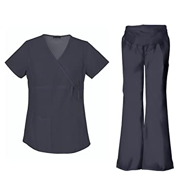 870d1100525 Cherokee Flexibles Maternity Mock Wrap Top 2892 & Flare Leg Pant 2092 Scrub  Set (Pewter