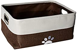 Two Tone White with Grey Canvas & Jute Storage Bin with embroidered Paw