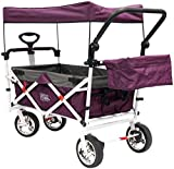 Creative Outdoor Distributor Push Pull Wagon for Kids, Foldable with Sun/Rain Shade (Purple)