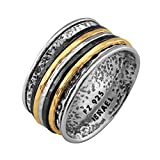 Paz Creations .925 Sterling Silver Ring With Gold Over Silver And Black Rhodium Spinners, Made in Israel (7)