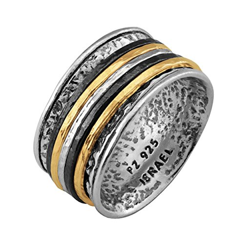 Paz Creations .925 Sterling Silver Ring with Gold Over Silver and Black Rhodium Spinners, Made in Israel (5) ()