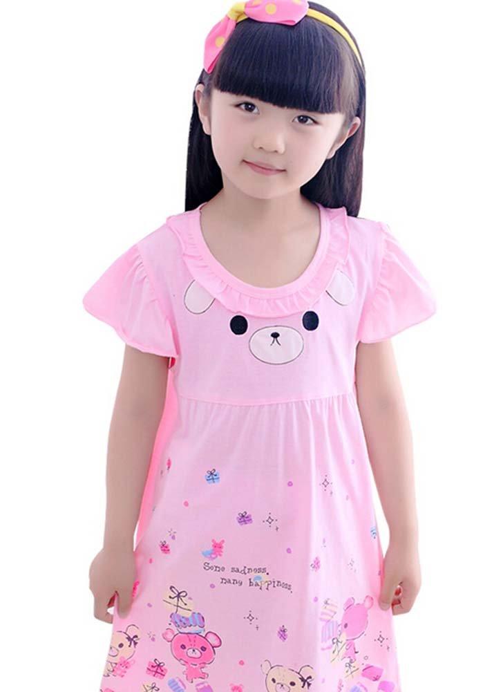 [rosa] Niñas Camisón oso de peluche niñas nighties verano algodón camisón transparente, 5 - 7Y: Amazon.es: Bebé