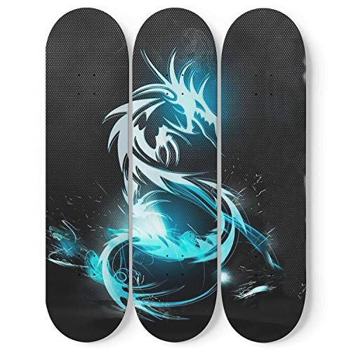 (Sesamely Modern Premium Home Decor Wall Decor Pro Canadian Maple Wood Skateboard with Dragon in Black Print Or Collectible Art for Decorations Wall Mount Included (96
