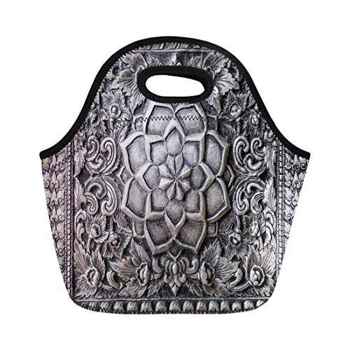 Semtomn Lunch Bags Ancient Galvanized Silver Carving Walls Temple in Thailand Alloy Neoprene Lunch Bag Lunchbox Tote Bag Portable Picnic Bag Cooler Bag