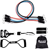 Pinjian Ultimate Resistance Band Set with Heavy Duty Rubber Resistance Bands,Door Anchors, Ankle Straps, Chest Expander, Foam Handles,Exercise Guide and Storage Bag for Full-body Workout