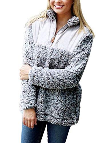 MEROKEETY Women's 1/4 Zip Stand Collar Sherpa Pile Pullover Tops Unisex Fleece Sweatshirt ()