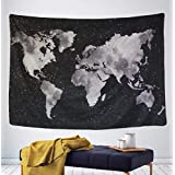 """Tapestry Starry World Map Tapestry Black & White Abstract Painting Wall Hanging Home Decor for Living Room Bedroom Dorm Room 51.2"""" x 59.1"""""""