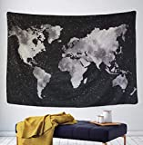 "Tapestry Starry World Map Tapestry Black & White Abstract Painting Wall Hanging Home Decor for Living Room Bedroom Dorm Room 51.2"" x 59.1"""