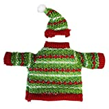 Solid Green and Red Accented Jolly Christmas Sweater Wine Snuggler - By Ganz