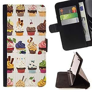 - cupcake bakery sweets dessert cherry - - Prima caja de la PU billetera de cuero con ranuras para tarjetas, efectivo desmontable correa para l Funny HouseFOR Sony Xperia Z2 D6502