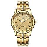 Top Quartz Business Wristwatch Mens Waterproof Simple watch(28-Gold)