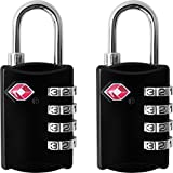 TSA Luggage Locks (2 Pack) - 4 Digit Combination Steel Padlocks - Approved Travel Lock for Suitcases & Baggage - Black