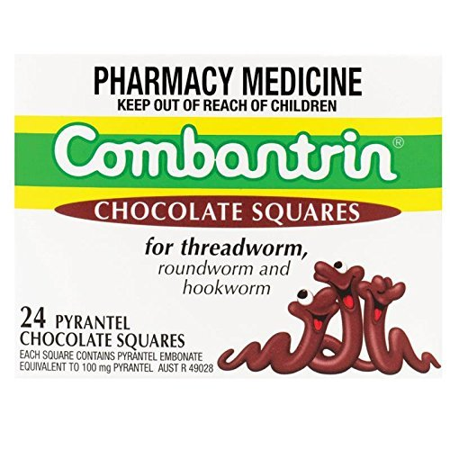 Combantrin Chocolate Squares 24 Worming Treatment for Children and Adults Made in Australia