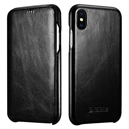 ICARER iPhone Xs MAX Leather Case,Genuine Vintage Leather Flip Folio Opening Cover in Curved Edge Design, Slim Thin Side Open Case for iPhone Xs MAX 6.5 Inch (Black)