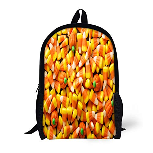 Pinbeam Backpack Travel Daypack Colorful Candy Corn and Pumpkin Halloween Overhead Shot Waterproof School Bag -