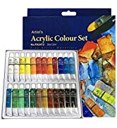 PHOENIX Acrylic Color Paint Set of 24 Tubes x 12 ml - Non-Toxic Paints for Kids, Students, Beginn...