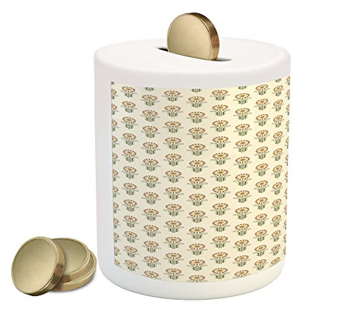 Sunflower Coin Box Bank by Lunarable, Agriculture Pattern with Blooming Bud Petals Ornate Swirls and Curves, Printed Ceramic Coin Bank Money Box for Cash Saving, Fern Green Beige (Fern Swirl)