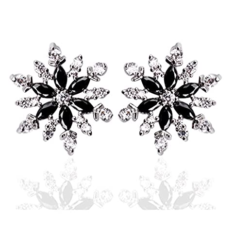 Black Cubic Zirconia Snowflake Stud Earrings Set 0.59
