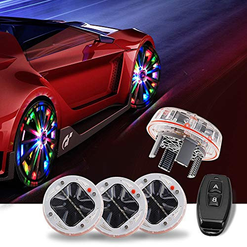 AUTOMONARCH 4 Pack Car Auto Waterproof Solar Energy Wheel Light Lamp Decorative Flashing RGB Colorful Flash Light LED Tire Warning Light (Flashing Flash Wheel Lights For All Cars)