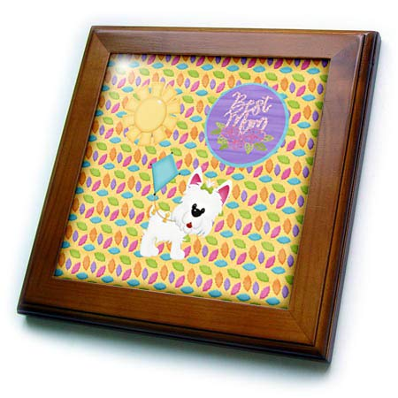 3dRose Beverly Turner Mothers Day Design - Best Mom, Cute Dog with Blue Kite and Sun on Colorful Leaf Print - 8x8 Framed Tile (ft_308958_1)