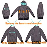NeuFashion Exclusive Double Thick Real Baby Carrier Hoodie Jacket Coat, Dark Grey, Large