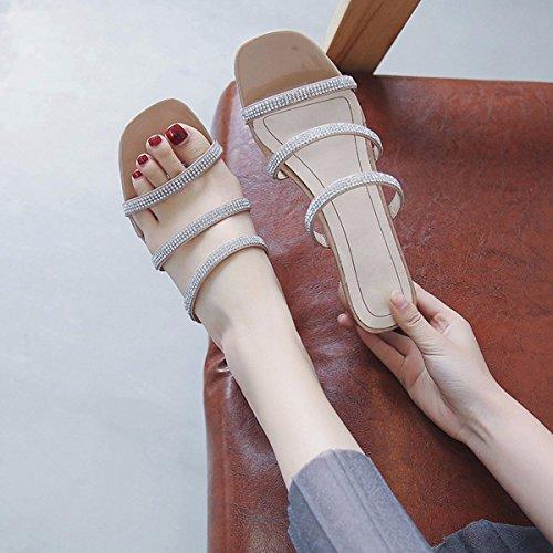 Un Sandalias Khaki Diamante Señoras QPSSP Zapatillas Sandalias De Sandalias De Sandalias Zapatos Par Sandalias Zapatos De Par De tS7qfw1