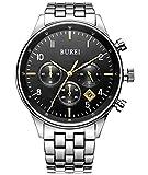BUREI® Men's Stainless Steel Date Chronograph Quartz Watch with Silver Link Bracelet, Black Dial Gold Hands