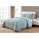 3pc 109 x 118 Oversized Seafoam Queen Bedspread Floor, Drapes Down Sides Hangs Over Bed Touches Flooring, Extra Long Texrured Bedding Xtra Wide Drops Over Edge Frame, Cotton