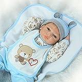 Reborn Baby Dolls Boy Silicone Newborn Eyes Open 22 inch Blue