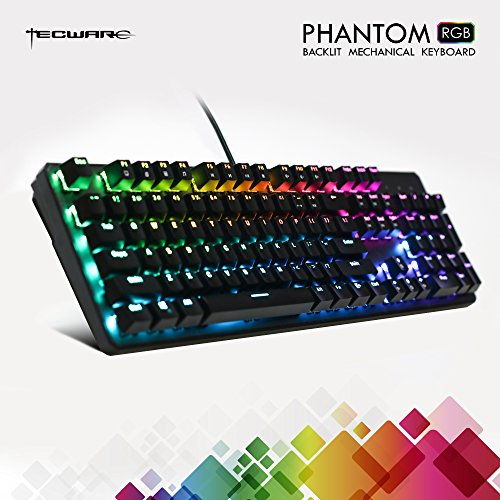 TECWARE Phantom 104 Mechanical Keyboard, RGB LED, Outemu Blue Switch,Extra Switches Provided, Excellent for Gamers