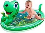 OPOLEMIN Upgrade Tummy Time Mat, Baby Water Mat X-Large 47''x29'' 3D Dinosaur Shape Infants Toy Fun Activity P