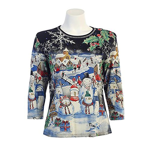 Jess & Jane Snowmen and Christmas Village Shirt