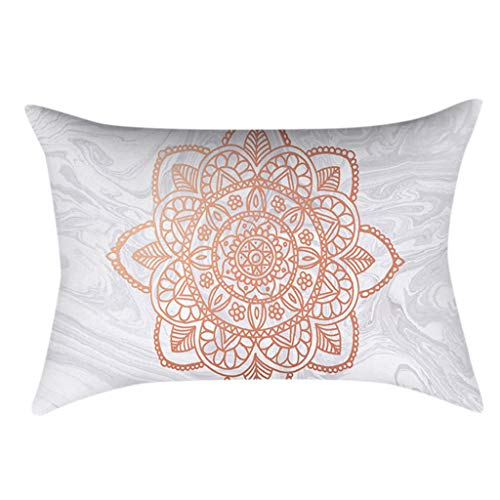 30x50cm Rectangle Sofa Home Decorative Pillow Case Glitter Rose Gold Pink Geometric Marble Print Polyester Peach Velvet Cushion Cover Nordic