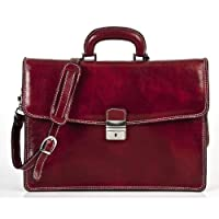 Alberto Bellucci Mens Italian Leather Vernio Single Compartment Slim Briefcase by Alberto Bellucci