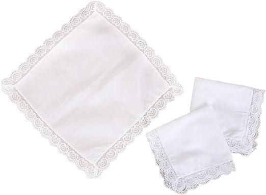 qingqingR Pañuelo de algodón Blanco Puro Alrededor del Borde de ...