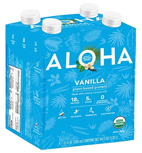 ALOHA Organic Plant Based Protein Drink, Vanilla, Gluten Free, Non-GMO, Stevia Free, Soy Free, Dairy Free, 11 oz, 12 servings
