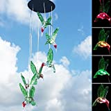 Lighten Glimmer LED Wind Chime Outdoor, Color Changing Mini Sized Six Hummingbirds Decorative Lights Solar Lights Garden