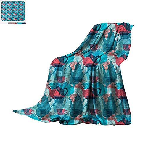Tea Party Super Soft Lightweight Blanket Crockery Composition Abstract Overlapping Silhouettes Teapot and Cups Custom Design Cozy Flannel Blanket 50