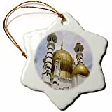 3dRose orn_61822_1 Islamic Mosque of Cordova Snowflake Porcelain Ornament, 3-Inch