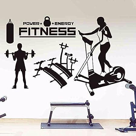 Adhesivo de pared gym fitness deportes de ejercicio, deporte de la escuela de arte de la decoración de las ventanas de vidrio de peso Fitness ejecutando ,128*80cm.: Amazon.es: Hogar