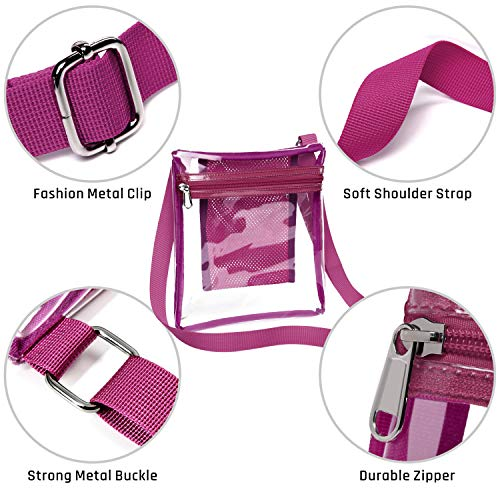 5b3d5ae03574 Clear Crossbody Bag, iSPECLE Clear Bag Purse Approved for NFL PGA NCAA  Fuchsia