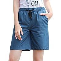 HOW'ON Women's Elastic Waist Casual Beach Shorts Wide Leg Shorts Drawstring Jean Shorts