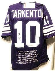 Fran Tarkenton Minnesota Vikings Signed Autograph Purple Embroidered Stat Custom Jersey Tarkenten GTSM Hologram Certified