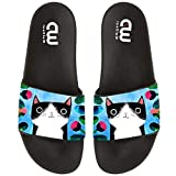 Hand Drawn Cute Cat Summer Slide Slippers For Girl Boy Kid Non-Slip Sandal Shoes size 13