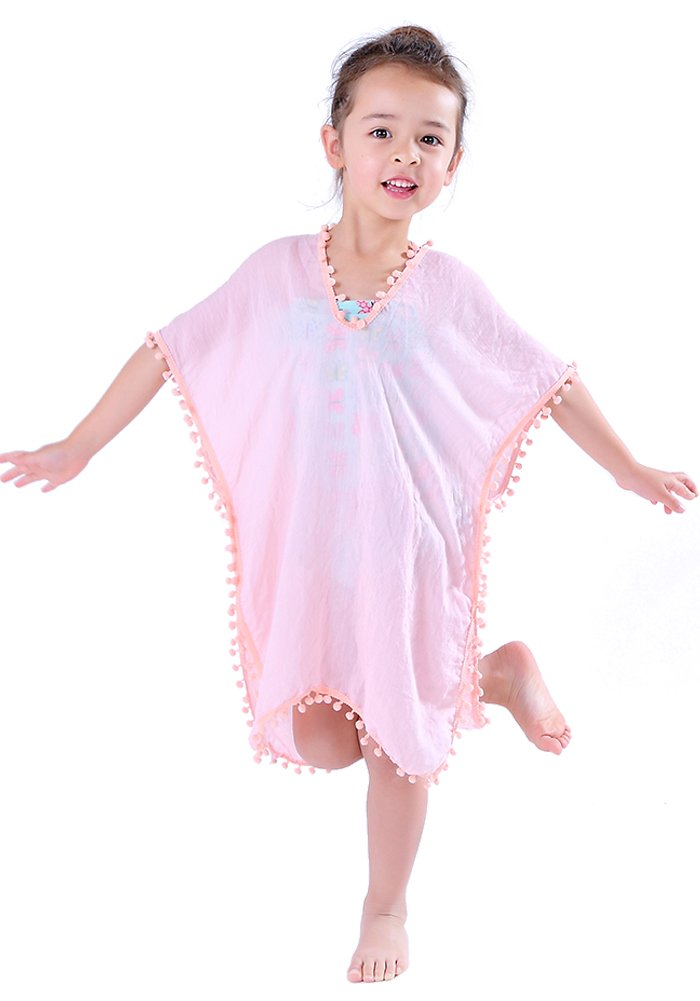 MissShorthair Fashion Girls' Cover-up Swimsuit Wraps Beach Dress Top with PomPom C1817C-7